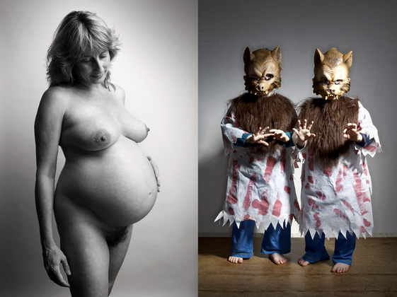 Rebecca 9 months pregnant. Theo and Finlay in wolf costumes.